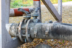 Old valve or dirty valve in dirty work, Dirty valve in oil transfer station Stock Image