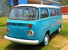 Old van. Blue color parked on display at the amusement park Stock Photography