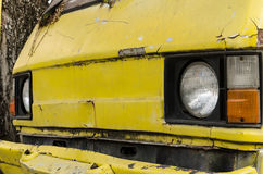 The old van car be Tire leak stock photography