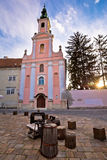 Old Varazdin church and street view Royalty Free Stock Photo