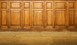 Old varnished wooden hinged cupboards Stock Images