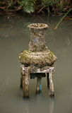 Old vase-fountain on pond in Thailand Royalty Free Stock Photo