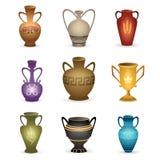 Old vases isolated on white stock illustration