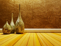 Old vases on the wooden floor Royalty Free Stock Images