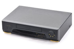 Old VCR. Old video cassette recorder on the white background. Front side Stock Photo