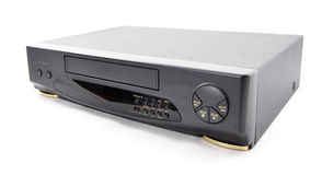 Old VCR. Old video cassette recorder on the white background. Front side Stock Images