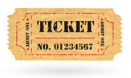 Old Vector vintage paper ticket with number. Vector Stock Photo