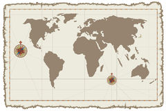 Old vector world map on parchment. Illustration Stock Photo