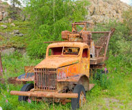 An old vehicle left to rust at an outdoor museum in yellowknife Stock Photos