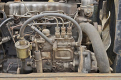 Old vehicle machine. Spark plugs of old engine closeup Stock Photos