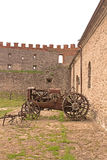 Old vehicle in Medzhybizh castle, Ukraine Royalty Free Stock Image