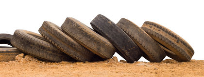 Old vehicle tires soiled with mud. Royalty Free Stock Photography
