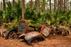 Abandoned old vehicle in a Florida forest Stock Photo