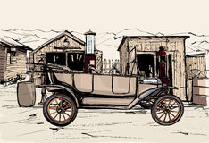 Old vehicule at a gas station in the desert. Vector illustration -  old vehicule at a gas station in the desert Stock Photo