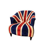 Old Velvet Armchair Isolated. Old velvet armchair - coated in the colors of the British flag, isolated on the white background Stock Images