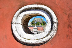Old venetian architecture in Corfu Town citadel on the old Corfu island Stock Photo