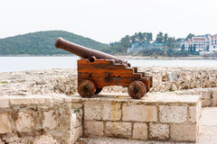 Old Venetian cannon in the old town of Korcula on island Korcula Stock Images