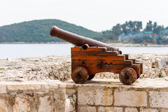 Old Venetian cannon in the old town of Korcula on island Korcula Stock Photos