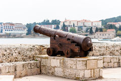 Old Venetian cannon in the old town of Korcula on island Korcula Stock Photo