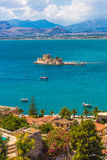 Old Venetian fortress Bourtzi in Nafplio, Greece Royalty Free Stock Images