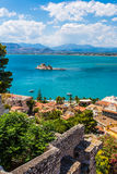 Old Venetian fortress Bourtzi in Nafplio, Greece. Bourtzi fortress, a prison in the sea in front of Nafplio town the first capital of Greece royalty free stock photography