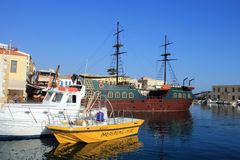 The old venetian harbor in Rethymno city at Crete island, Greece Stock Images