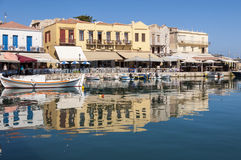 Old Venetian Harbor in Rethymno on Crete Royalty Free Stock Image