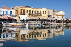 Old Venetian Harbor in Rethymno on Crete Royalty Free Stock Photo