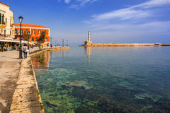 Old Venetian harbour of Chania on Crete, Greece Royalty Free Stock Images