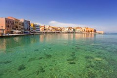 Old Venetian harbour of Chania. CHANIA, GREECE - APRIL 3, 2017 : Old Venetian harbour of Chania on Crete, Greece. Chania is the second largest city of Crete and Royalty Free Stock Photos