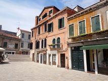 Old venetian house at Campo San Pantalon - Venice, Italy stock photos