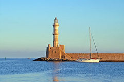 Old venetian lighthouse of Chania in Crete, Greece Stock Photography