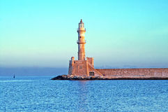 Old venetian lighthouse of Chania in Crete, Greece Stock Photo
