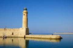 Old venetian lighthouse in city of Rethymno Royalty Free Stock Images