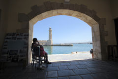Old venetian lighthouse in Rethymno Stock Images