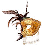 Old Venetian mask isolated on white Royalty Free Stock Images