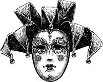 Old venetian mask. Vector drawing of an ancient Venetian mask of the harlequin vector illustration
