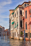 Old Venetian Palazzo on Grand Canal at sunset Royalty Free Stock Photography
