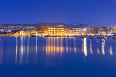 Old Venetian port of Chania on Crete at night Royalty Free Stock Photo