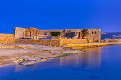 Old Venetian port of Chania on Crete at night Royalty Free Stock Photos