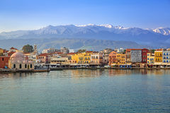 Old Venetian port of Chania at dawn, Crete Stock Image