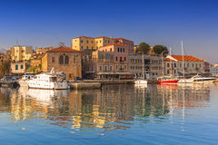 Old Venetian port of Chania at dawn, Crete Royalty Free Stock Image