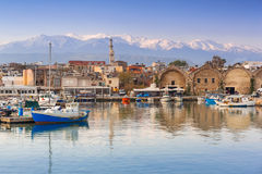 Old Venetian port of Chania at dawn, Crete Stock Photography