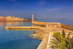 Old Venetian port of Chania at dawn, Crete Royalty Free Stock Photos