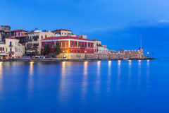 Old Venetian port of Chania at night, Crete Stock Photos