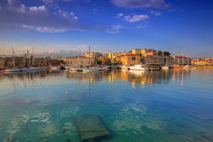 Old Venetian port of Chania at sunrise, Crete Stock Image