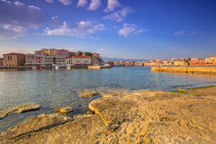 Old Venetian port of Chania at sunrise, Crete Stock Photos
