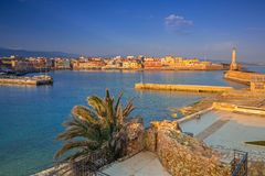Old Venetian port of Chania at sunrise, Crete Royalty Free Stock Photo