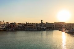 The old venetian port in Rethymno, Crete island, Greece royalty free stock image