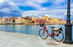 Old venetian town Chania in Crete island. Greece stock photos